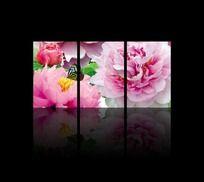 装饰无框画-蝴蝶牡丹花