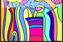 花瓶抽象插画