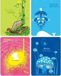 春夏秋冬四季创意温馨小卡片