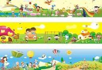 幼儿园围墙设计(只是cdr排版,里面元素是位图,非矢量图)