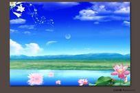 高清晰风景展板背景图