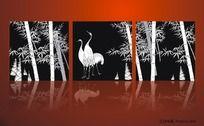 鹤与竹子无框画设计