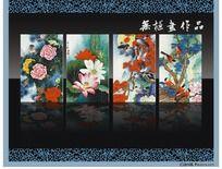 花鸟四条屏2无框画设计