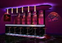 紫色酒吧吧台三维模型