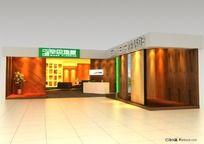110余平方现代风L形地板专卖店3ds模型设计