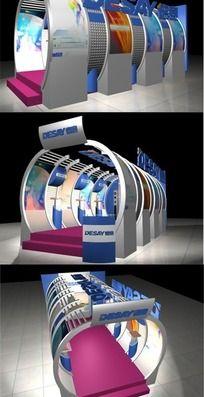 高科技风格圆形特装展厅3ds模型