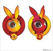 手绘卡通兔子头像 新年送吉祥