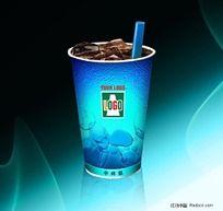 蓝色调汽水杯包装 PSD