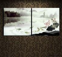 沙发无框画图片 水墨山水