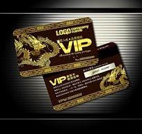 中国风金色龙图案VIP贵宾卡