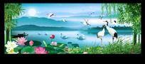 仙鹤图风景水墨画
