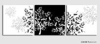 矢量无框画 (黑白发财树)