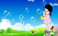 原创吹泡泡的小女孩卡通画 PSD