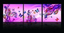 蝴蝶花纹无框画设计