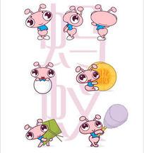 中国元素卡通蚂蚁矢量图