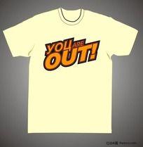 你OUT了文字T恤设计CDR矢量图