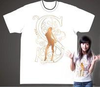 女人与S字母T恤设计CDR矢量图
