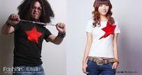 创意T恤红五星男女情侣衫CDR矢量