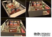 时尚皮革布艺展厅3Dmax模型设计 150平