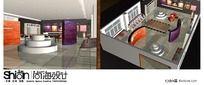 时尚皮革布艺展厅设计150平3Dmax模型
