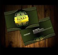 绿色精致高档花纹名片PSD