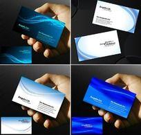 蓝色名片 简洁名片设计 白底名片 PSD