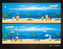 游泳池装饰卡通海景图
