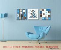蓝色现代无框画