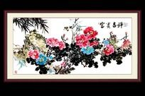 牡丹花鸟装饰画