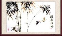 竹林花鸟画清影摇风