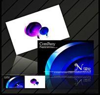 蓝色立体科技创意名片