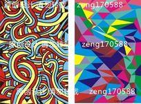 潮流时尚蛇条纹 几何体拼凑图案
