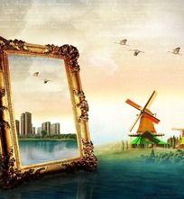 河面上的画框风车图片素材