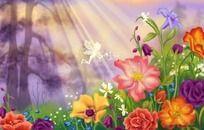 魔法精灵的春天手绘素材