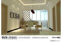 白色系餐厅3D模型(内置完事贴图)