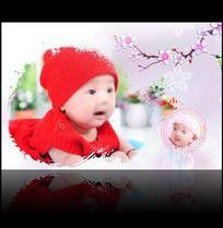 粉红的记忆宝宝百天留念模板 PSD