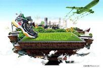 春季运动的童鞋广告素材