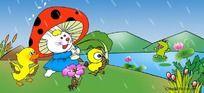 下雨了卡通插画