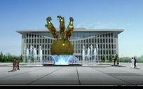广场雕塑喷泉效果图 PSD
