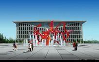 广场雕塑效果图 PSD