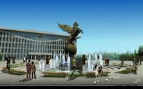 喷泉广场效果图 PSD