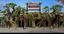 榕树景观大门图片 PSD