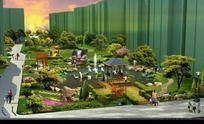 小区景观鸟瞰图