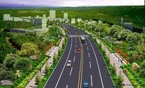 道路绿化效果图 PSD