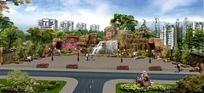 假山广场效果图