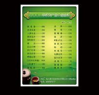 茶叶价目表