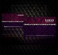 紫色高档花纹图案名片设计源文件