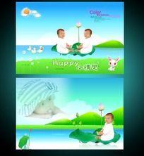 宝宝相册素材 荷叶上的宝宝 PSD