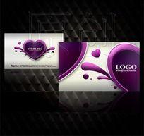 紫色创意美容名片设计源文件