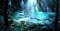 森林里的温泉动态视频